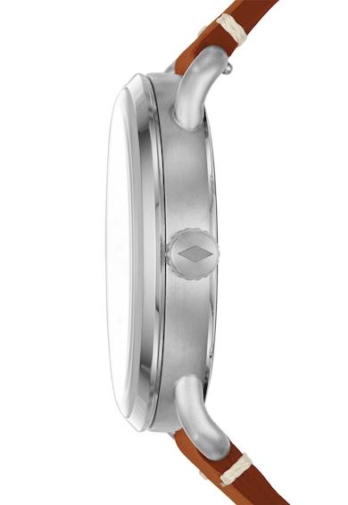 Fossil Сребрист часовник с кафява кожена каишка The Commuter Мъже