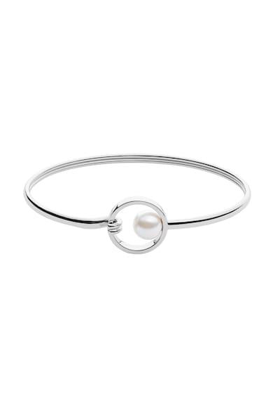 Skagen Bratara rigida argintie cu perla sintetica Femei