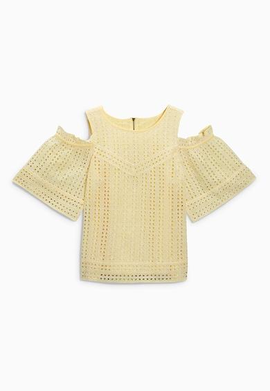 NEXT Bluza galbena cu perforatii si decupaje pe umeri Femei