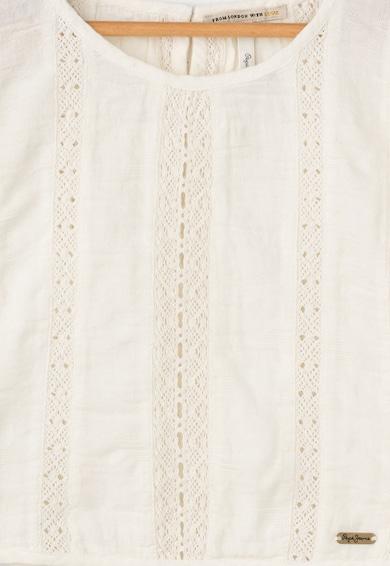 Pepe Jeans London Мръснобяла блуза с плетена дантела Момичета