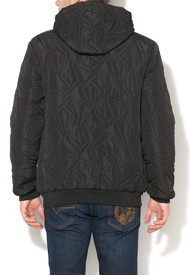 Versace Jeans Черно капитонирано яке с качулка Мъже