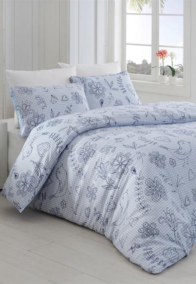 Leunelle Set alb de pat cu imprimeu tip plasa si desene 200X220-2P-50X70 Femei