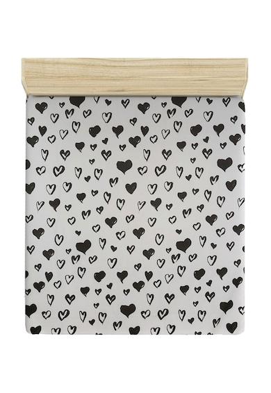 Leunelle Cearsaf alb de pat cu imprimeu negru cu inimioare 220X240 Femei