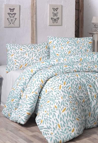 Leunelle Set alb de pat cu imprimeu albastru cu oranj 200X220-2P-50X70 Femei