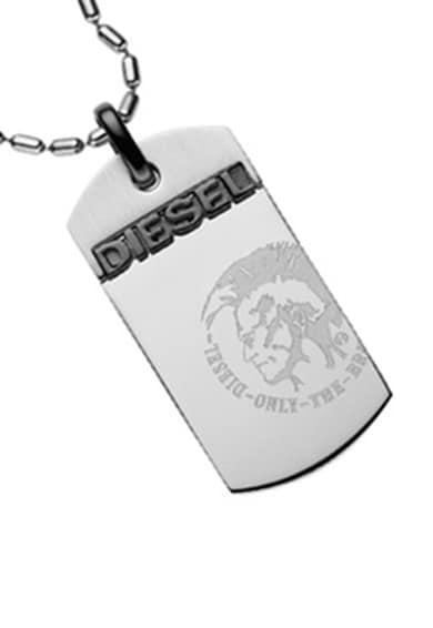 Diesel Colier argintiu cu placuta Barbati