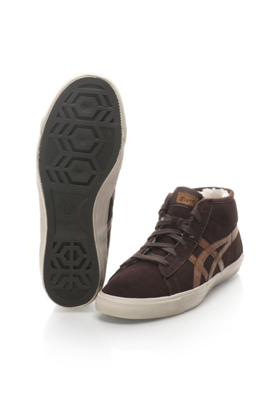 Onitsuka Tiger Tenisi mid-high maro inchis de piele intoarsa Fader Femei