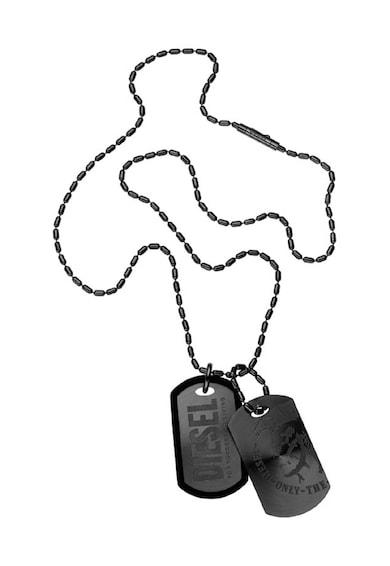 Diesel Colier negru cu pandantive cu logo Barbati