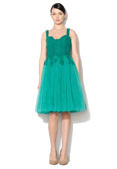 NISSA Rochie eleganta verde smarald din dantela si tul Femei