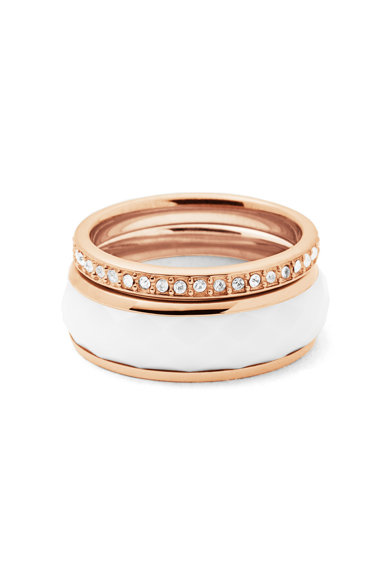 Fossil Розово-златист пръстен с кристали Жени