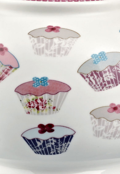 CHURCHILL Ceainic alb cu capac si imprimeu de portelan Cupcakes Femei