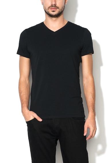 BLEND Set de tricouri negre cu decolteu in V - 2 piese Barbati