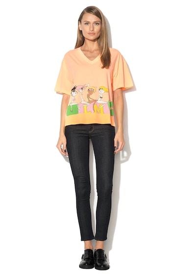 Love Moschino Tricou oranj neon cu imprimeu Femei
