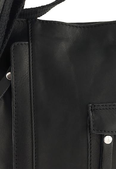 Classeregina Geanta neagra din piele cu buzunare exterioare Femei