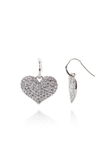 Guess Heart Shaped Earrings with Crystals Жени