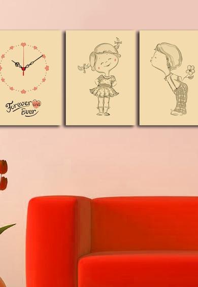 Clock Art Tablou canvas, 3 piese, 28 x 38 cm,  Forever Femei