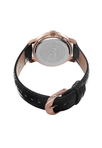 BURGI Кварцов часовник с кожена каишка и декорация с диаманти и кристали Жени