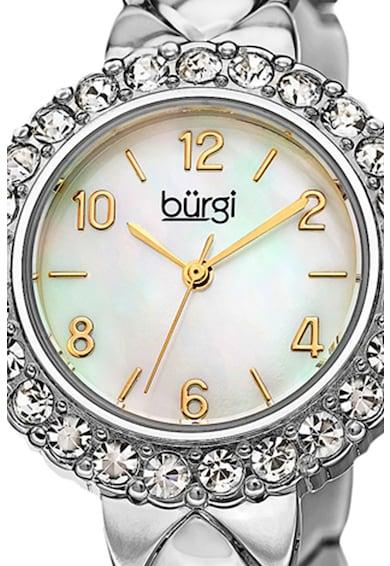 BURGI Ceas quartz rotund cu cristale pe coroana Femei
