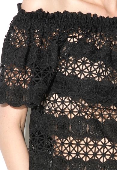 Zee Lane Denim Bluza neagra de dantela crosetata cu decolteu pe umeri Femei