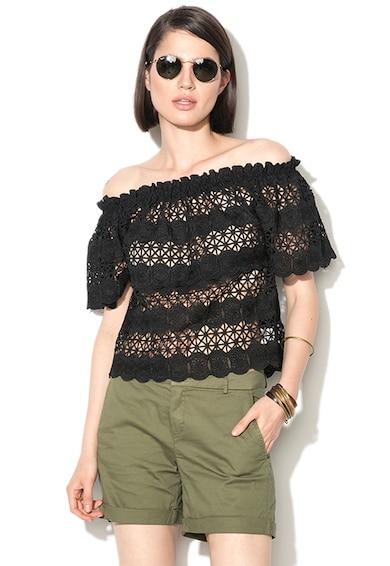 Zee Lane Denim Черна блуза с голи рамене и плетена дантела Жени