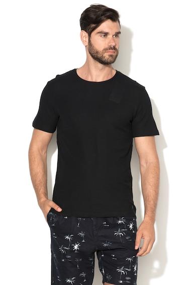 Jack&Jones Черна вталена тениска от пике с овално деколте Мъже