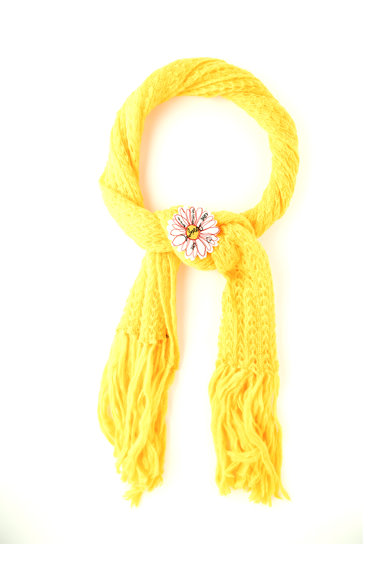 DESIGUAL Fular galben ambra cu franjuri Margarita Femei