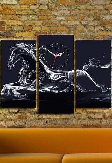 Clock Art Ceas de perete albastru ultramarin cu alb pe panza' to 'Tablou canvas Cock Art, 3 piese, 20 x 39 cm,  Cal Femei