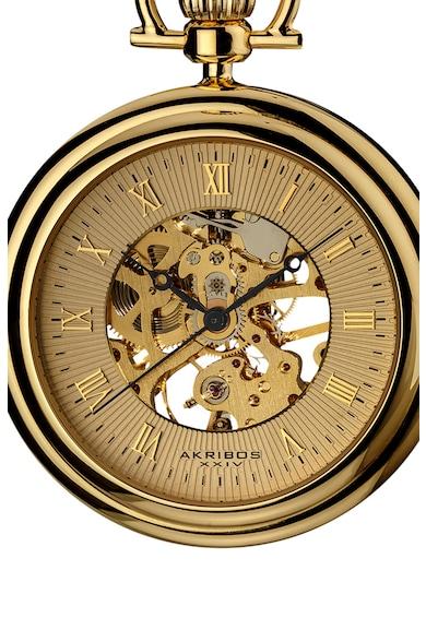 AKRIBOS XXIV Ceas placat cu aur de 14k, cu mecanism vizibil pe cadran Barbati