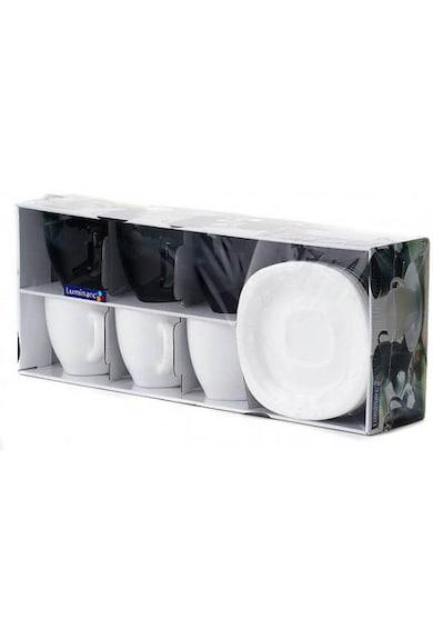 Luminarc Serviciu de ceai 12 piese  Carine, 6 cesti 220 ml + 6 farfurioare, Alb/Negru Femei