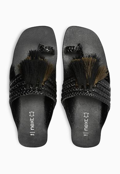 NEXT Papuci negri de piele cu bareta separatoare si canafi Femei