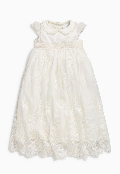 NEXT Бебешка рокля в слонова кост с плетена дантела Момичета