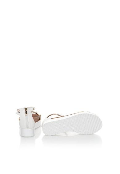 Oakoui Sandale flatform alb si auriu stralucitor cu strasuri Femei