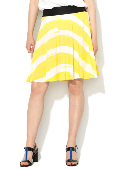 United Colors of Benetton Fusta evazata alb prafuit cu galben chartreuse Femei