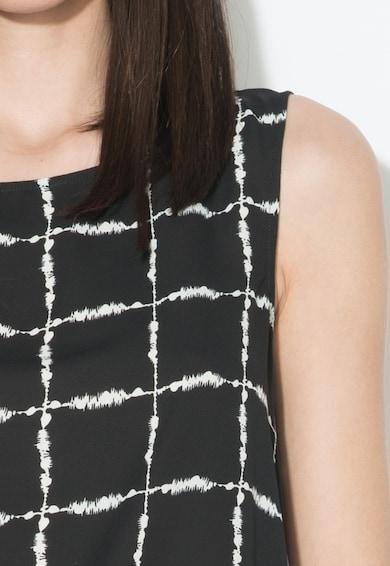Zee Lane Collection Топ на каре в черно и бяло с асиметричен подгъв Жени