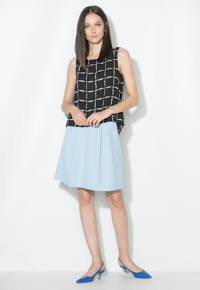 Zee Lane Collection Top in carouri negru si alb cu terminatie asimetrica Femei