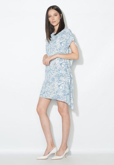 Zee Lane Collection Rochie scurta asimetrica alb cu albastru si model floral Femei