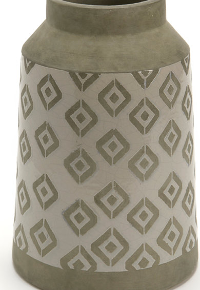 AMADEUS Vaza in nuante de gri cu model geometric din argila Graphik Femei