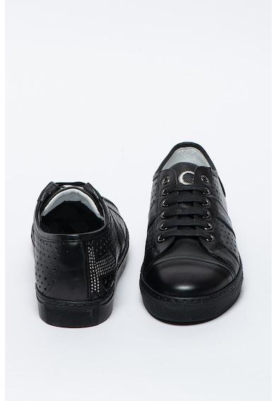 John Galliano Pantofi sport negri de piele cu perforatii Femei