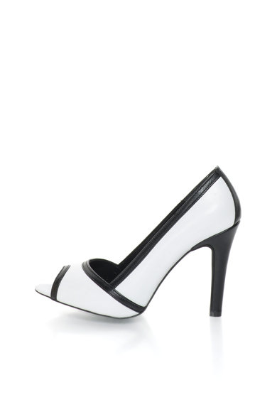 John Galliano Fekete & Fehér Nyitott Orrú Bőrcipő női