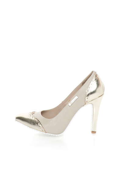 John Galliano Кожени обувки в златисто и сиво-бежово с ток стилето Жени