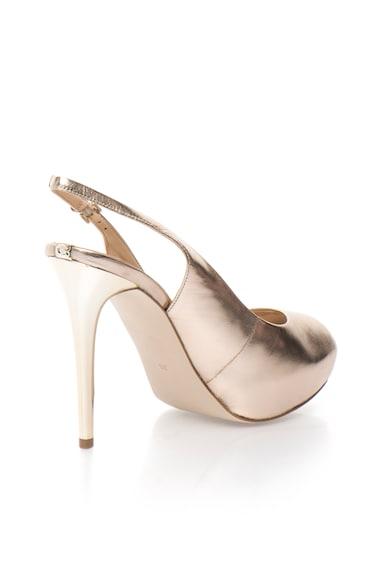 Guess Pantofi slingback aurii de piele cu varf decupat si platforma Femei