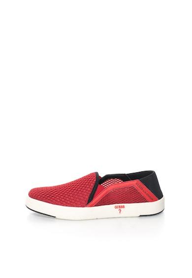 Guess Pantofi slip-on rosii de plasa cu garnituri de piele Barbati