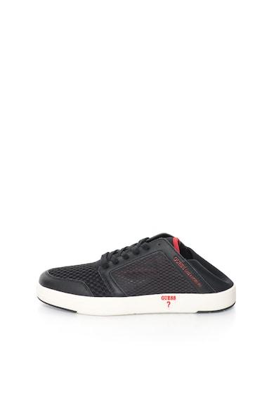 Guess Pantofi sport negri cu segmente de plasa Barbati