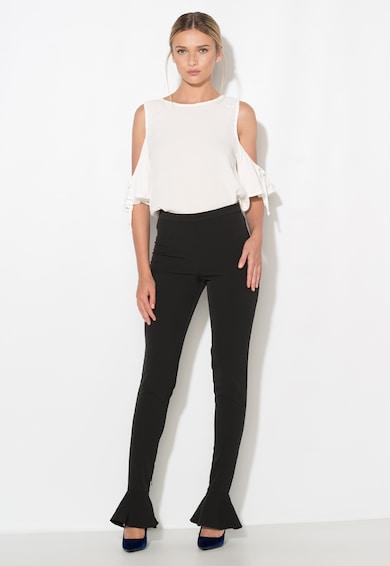 Zee Lane Collection Pantaloni negri slim fit cu volane Femei