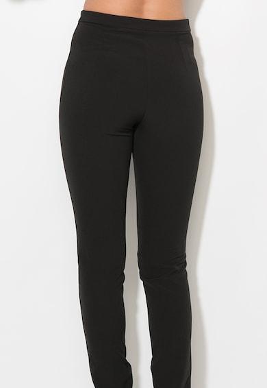 Zee Lane Collection Pantaloni negri slim fit cu slituri la terminatii Femei