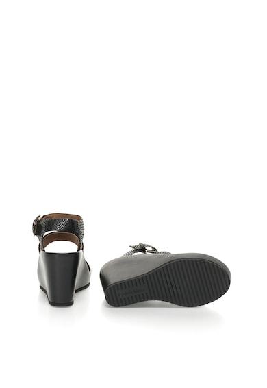 Calvin Klein Sandale negre de piele cu platforma wedge Hailey Femei