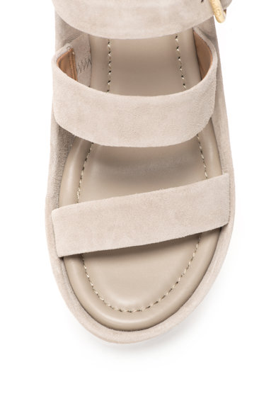Calvin Klein Сиво-бежови велурени сандали със скосена платформа Жени