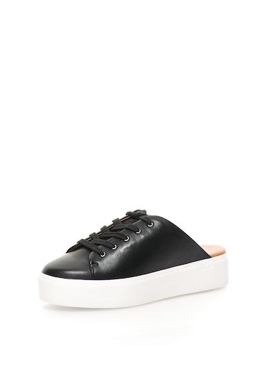 Calvin Klein Pantofi sport flatform negri de piele cu spate decupat Jaleh Femei