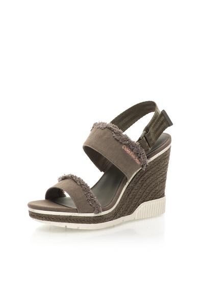 Calvin Klein Jeans Sandale wedge tip espadrile verde militar Lael Femei