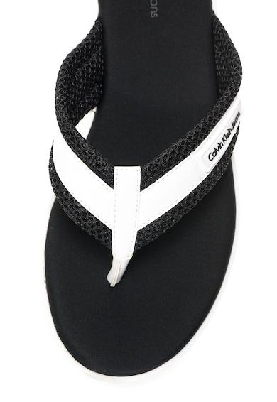 Calvin Klein Jeans Papuci flip-flop negru cu alb Mahal Femei