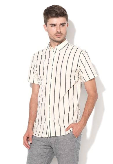 Selected Homme Бледожълта вталена риза на райе в тъмносиньо Мъже